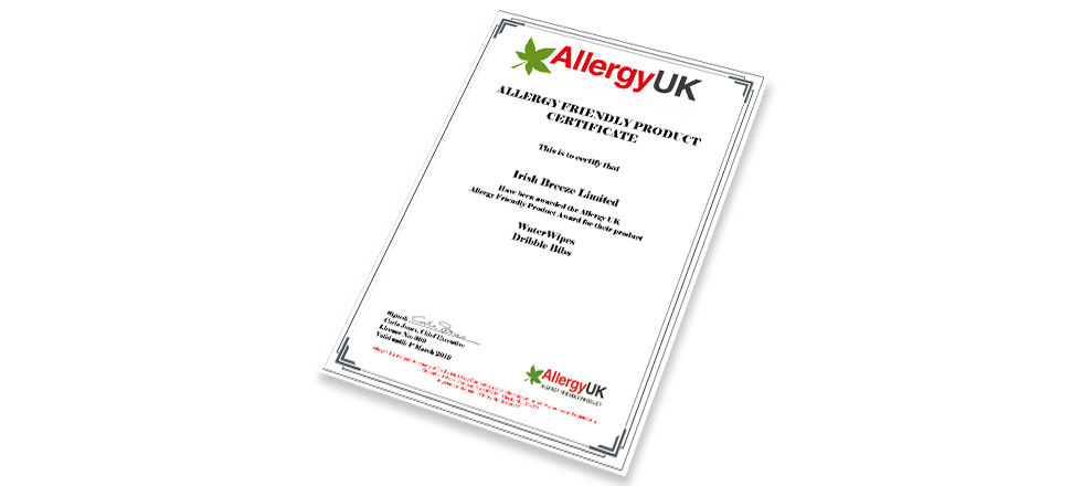 WaterWipes ALLERGY FRIENDLY PRODUCT CERTIFICATE
